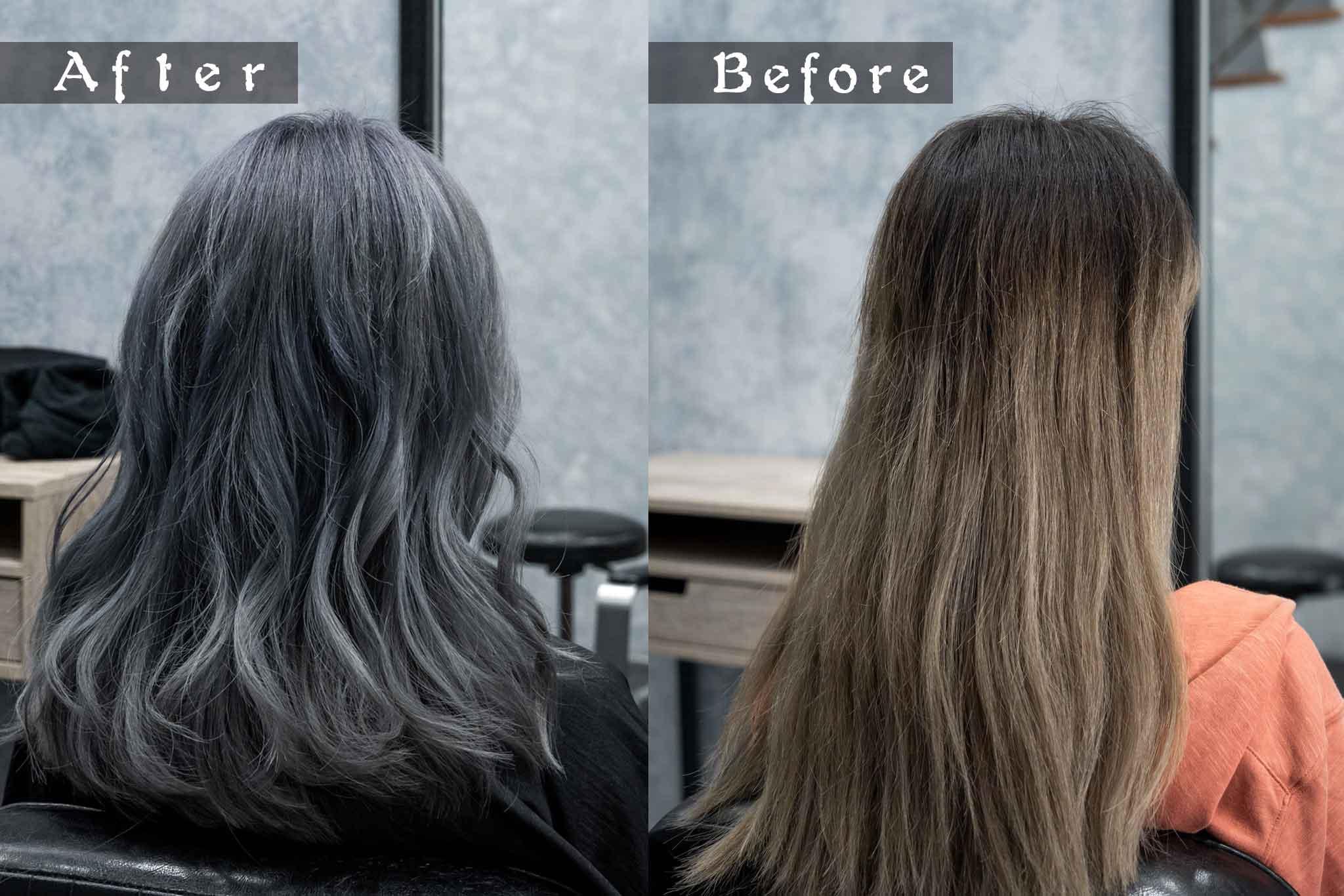 染髮 前後對比